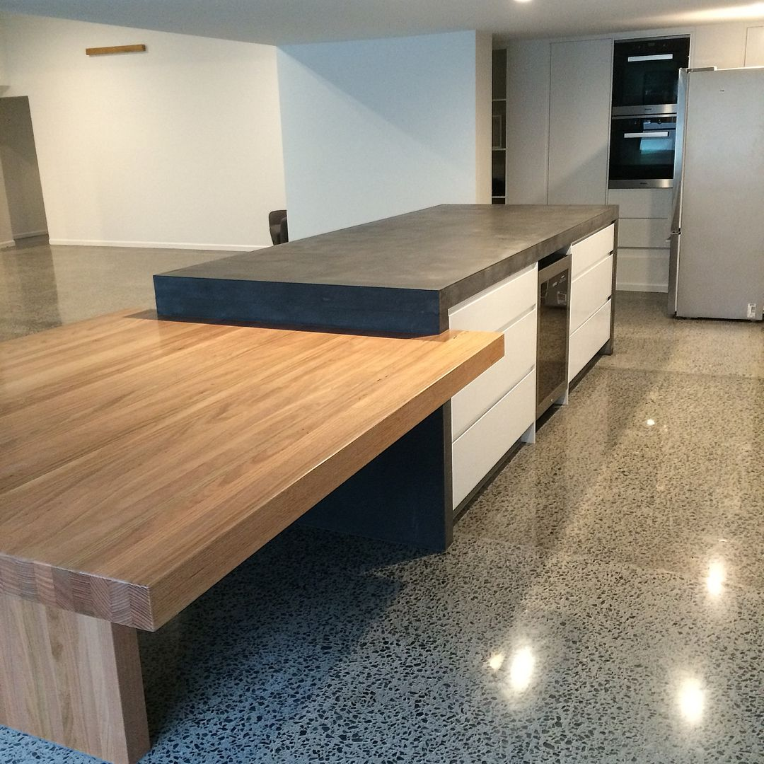 Timber Kitchen Black Benchtop: Concrete Nation - Polished Concrete Benchtops
