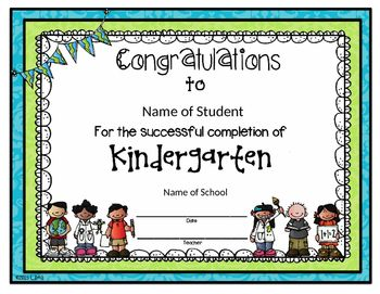 Editable kindergarten completionparticipation certificate this is an end of year certificate for the kindergarten students it is for kindergarten completion or kindergarten participation yadclub Image collections