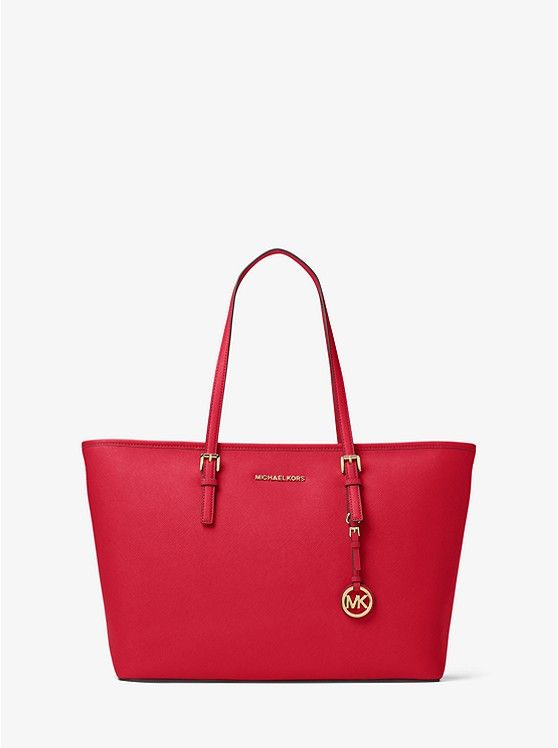 1ad5dc61206f ... official Michael Kors site. Jet Set Travel Medium Saffiano Leather Top- Zip Tote preview0