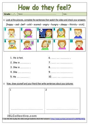 Learning About Feelings Complete The Sentences Using The