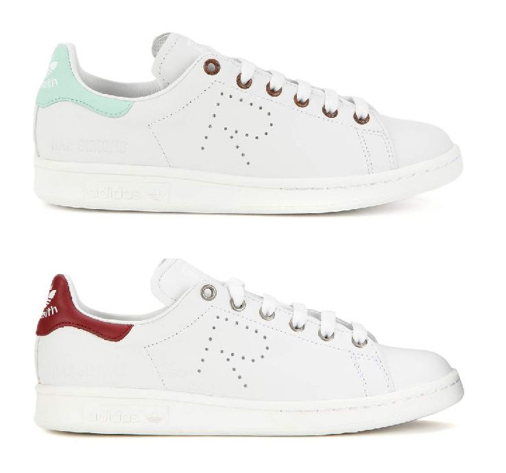 Adidas by Raf Simons Stan Smith sneakers featuring a dark red or turquoise  stitched logo tab