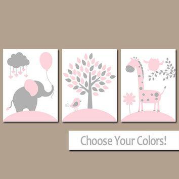 Pink Gray Nursery Wall Art Canvas Or Prints Baby Decor Elephant