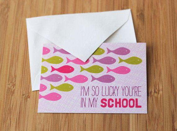 kids valentines  fish  mini valentine cards  school valentines