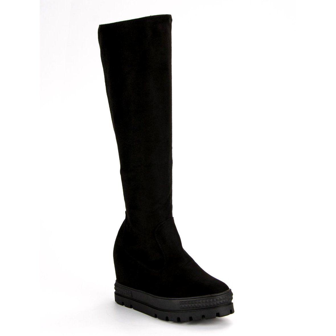 Seastar Zamszowe Kozaki Na Koturnie Czarne Shoes Boots Wedge Boot