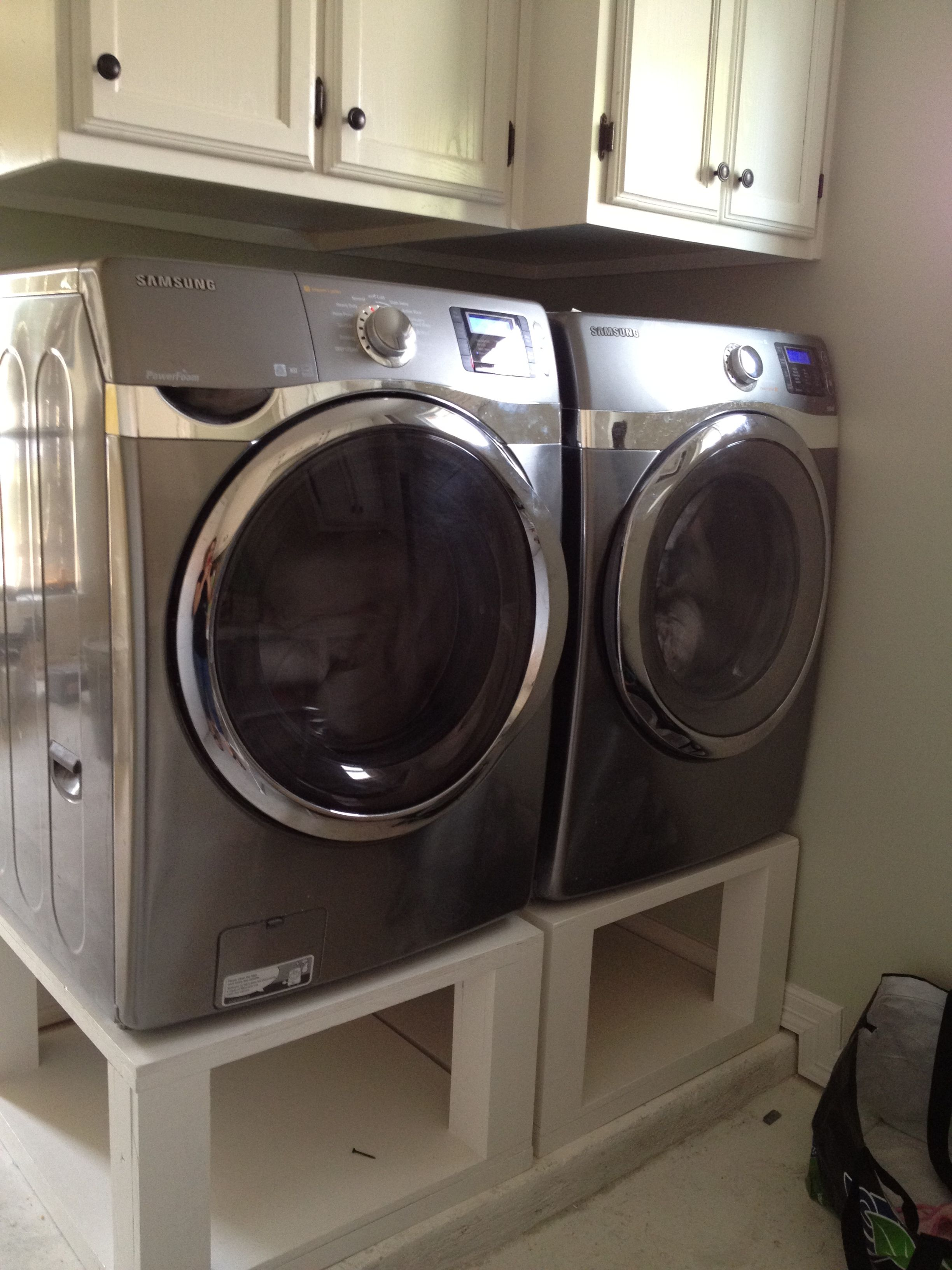 My New Laundry Set Up With Wooden Pedestals And Wedding White