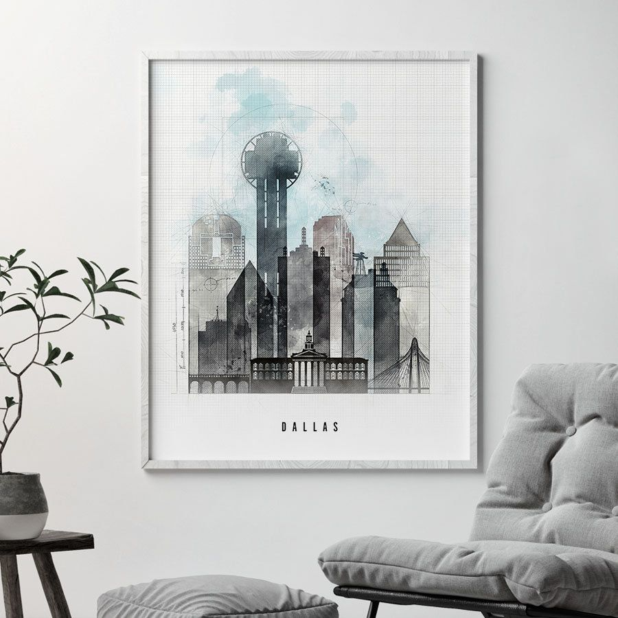 Dallas art Dallas print Dallas skyline Dallas Texas poster