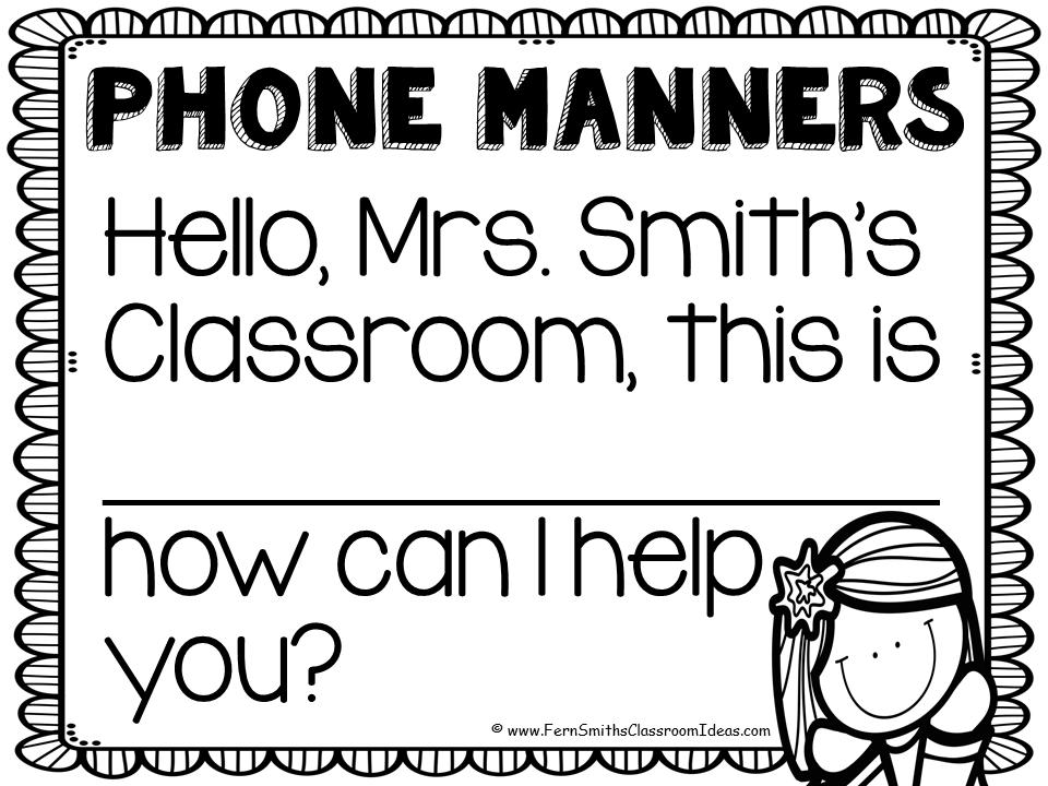 Fern Smith's FREE Classroom Phone Call Interruption Tips