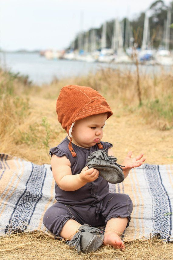 3f193e91c105 Rust Brown Baby Bonnet with Sheepskin Lining. Gender Neutral Baby ...