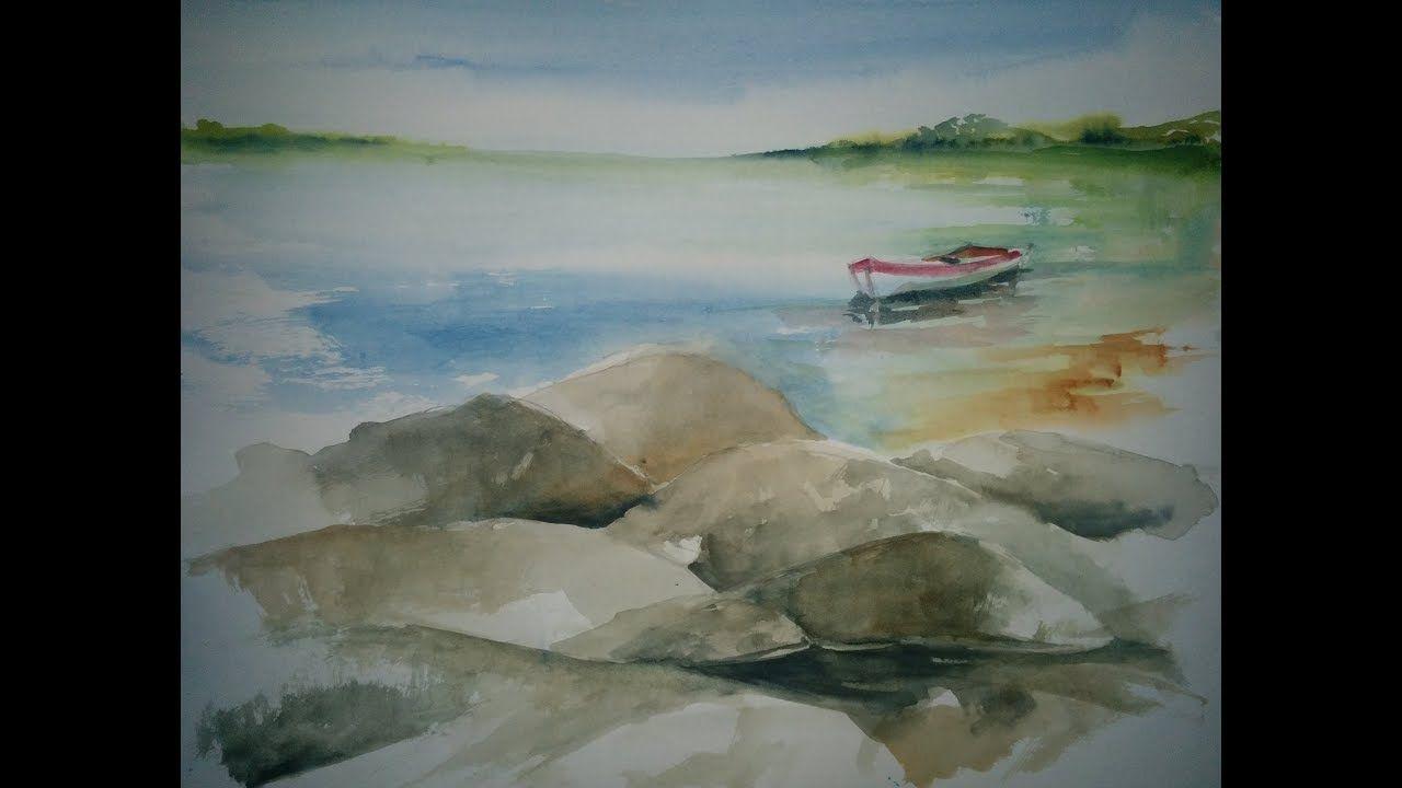 Aquarell Felsen Wasser Und Boot Aquarell Felsen Und Aquarell Ideen