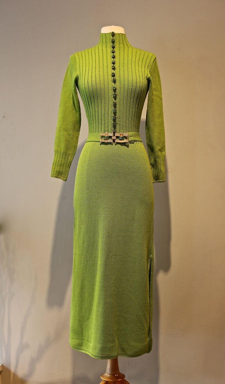 06610a26d Vintage 1970s St. John Knit Gown ~ Vintage 70s Lime Green St. John Knit  Dress With Rhinestone Buttons by xtabayvintage on Etsy