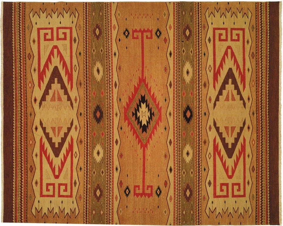 Tribal rug with Brown and Golden color