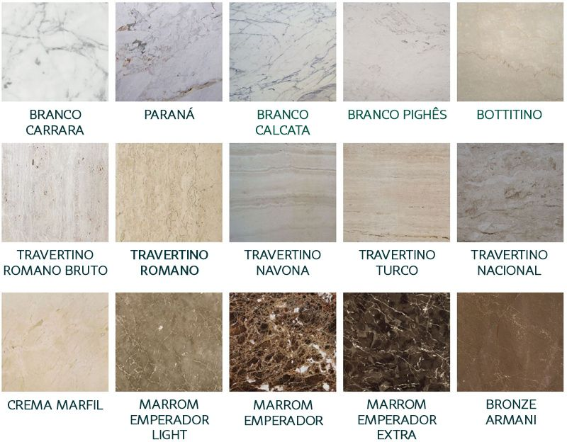 Imagem mostra os diferentes tipos de m rmore como branco for Tipos de granitos