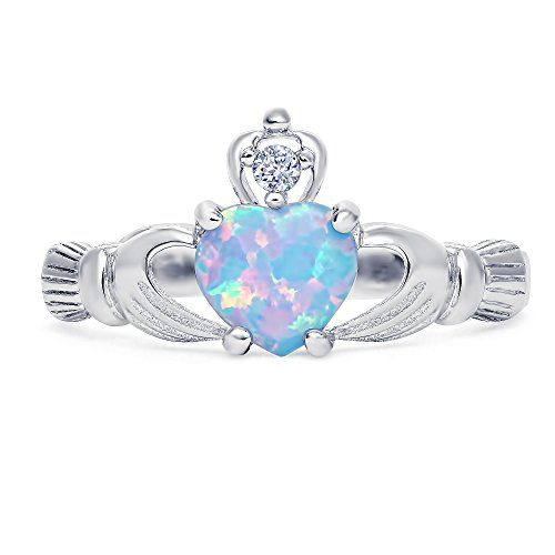 Sterling Silver labcreated Light Blue Opal Claddagh Promise Ring For Her 8mm 7 -- You can find out more details at the link of the image.
