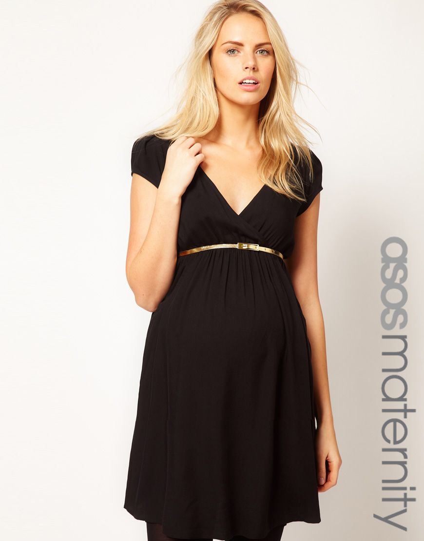 Black dress gold belt - Maternity Dress With Wrap Front And Gold Belt