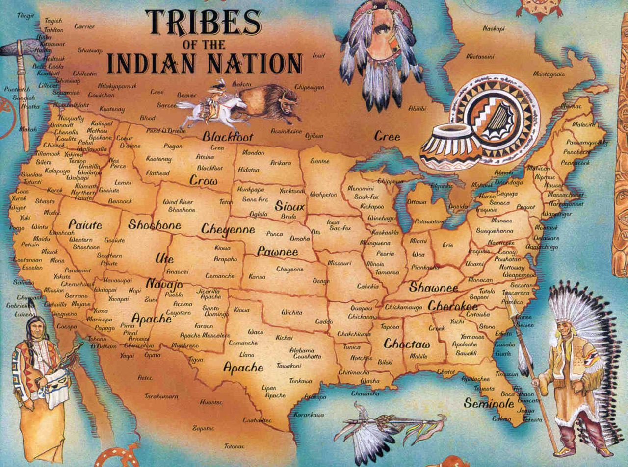 Native American Tribes Map Native American Tribes