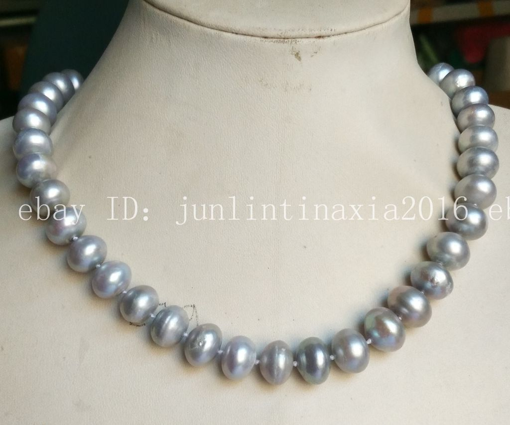 """Natural 8x9mm Fresh water pearl necklace white Beads 18/"""" AAA"""