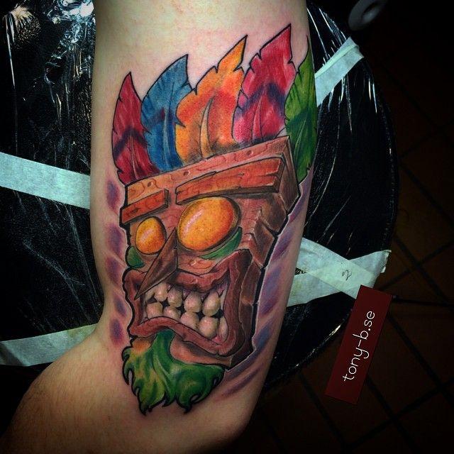 One down today#crashbandicot#game#nerd#tiki#tattoo#art# ...