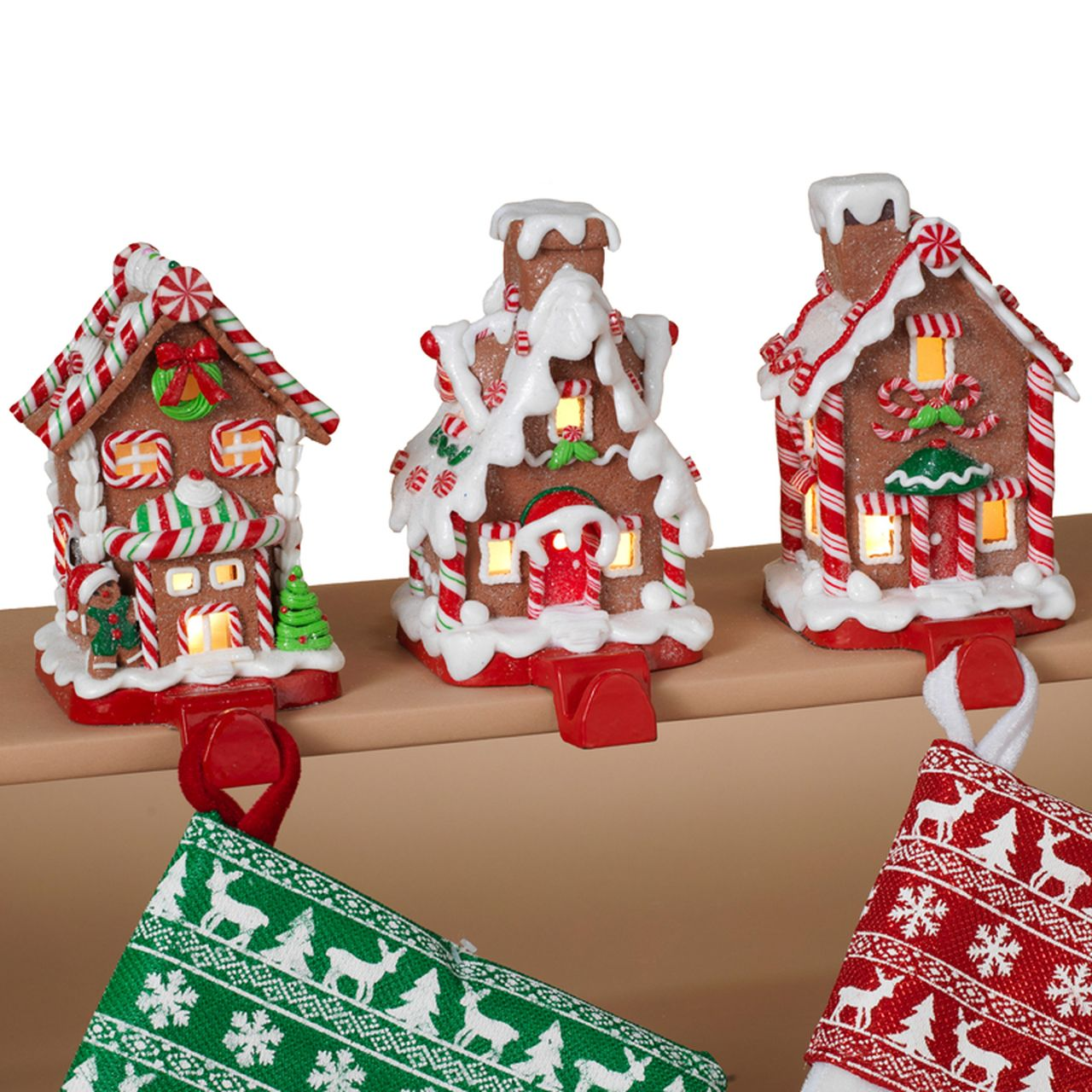 6 Battery Operated Led Lighted Claydough Gingerbread House Stocking Holders Gingerbread Christmas Decor Gingerbread Christmas Tree Christmas Stocking Holders