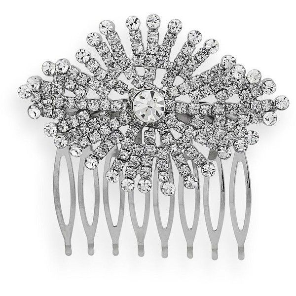 Crystal Allure Starburst Hair Comb (White) ($55) ❤ liked on Polyvore featuring accessories, hair accessories, white, hair combs accessories, white hair accessories, crystal hair comb, hair combs and crystal hair accessories
