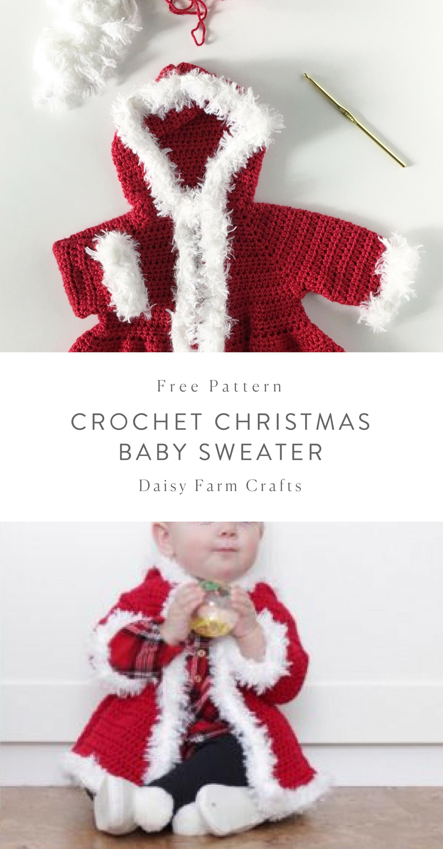 Free Pattern - Crochet Christmas Baby Sweater #crochet   BEBES ...