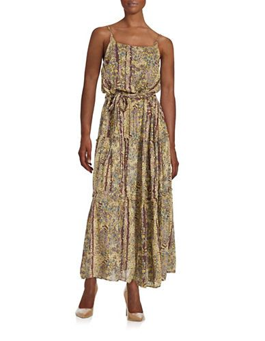 Free People Floral Maxi Dress Women's Purple Combo X-Small