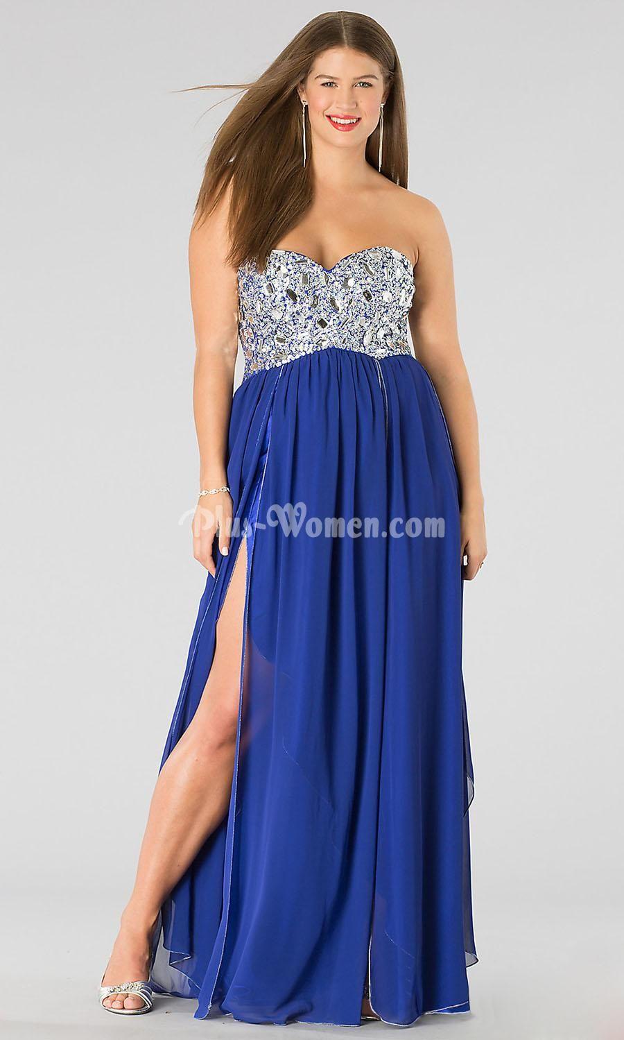 Strapless sweetheart royal blue chiffon slit long plus size prom