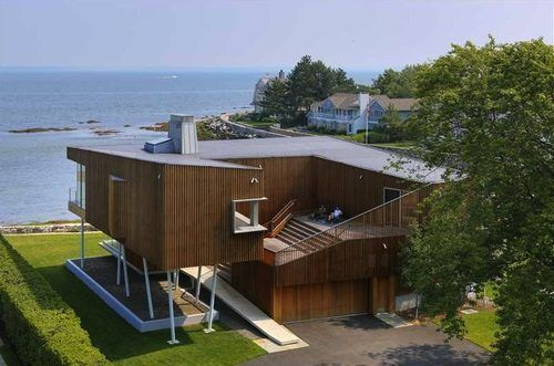 An Angular Modern Mansion on the Coast of Old Greenwich House of