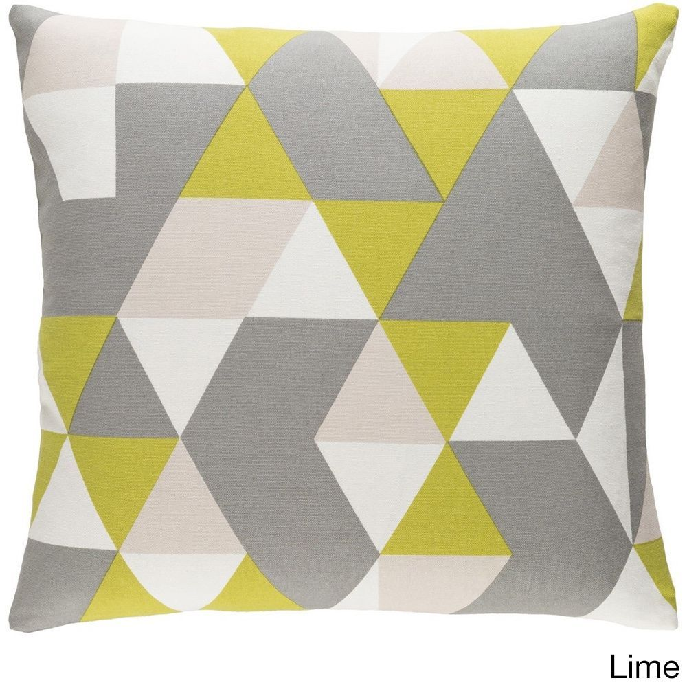 Surya Decorative 18-inch Creek Down or Polyester Filled Throw Pillow (Lime - Down Filled), Green, Size 18 x 18 (Cotton, Color Block)