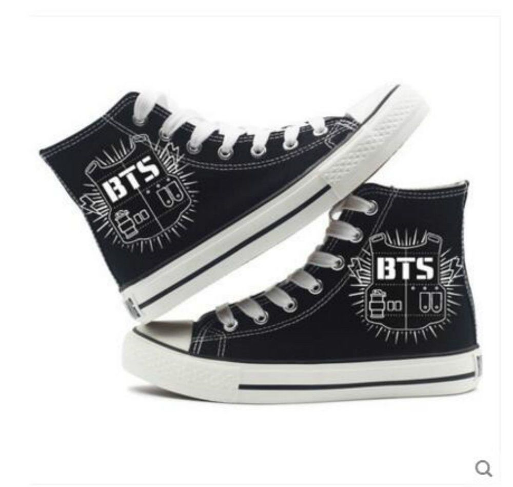 bts high-top canvas shoes