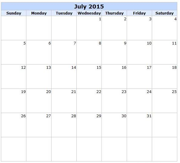 July  Get An Exclusive Collection Of July  Calendar