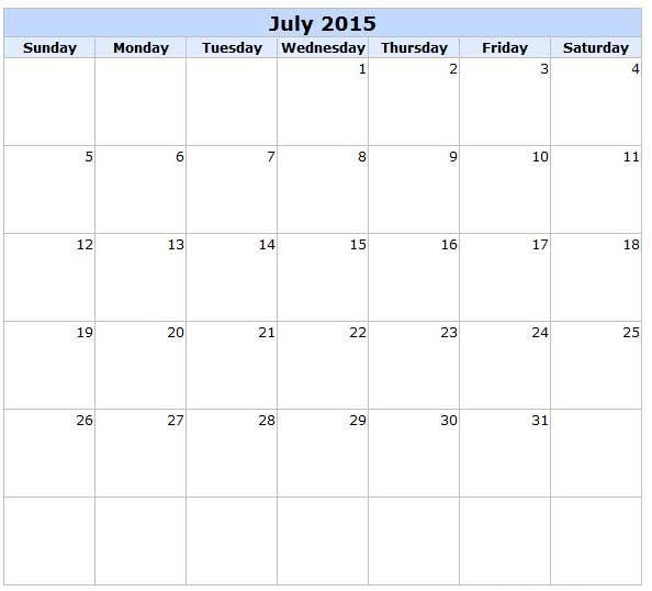 2015 July Printable Calendar Template Holidays Images 2015 Calendar Printable Printable Calendar Template Printable Calendar 2016