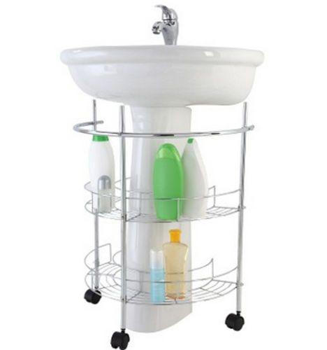 Mobile mobiletto sottolavabo mensola per lavandino da bagno cromato con rotelle ebay home - Lavandino bagno con mobile ...