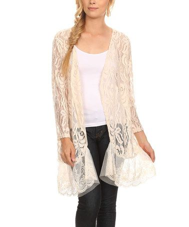Another great find on #zulily! Cream Lace Ruffle-Hem Open Cardigan ...