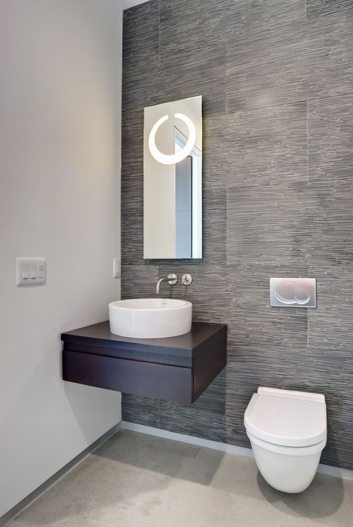 Contemporary Powder Room With Flush Concrete Floors Toto Wall Hung Toilet Powder Room Vessel Sink Powder Room Design Modern Powder Rooms Powder Room Small