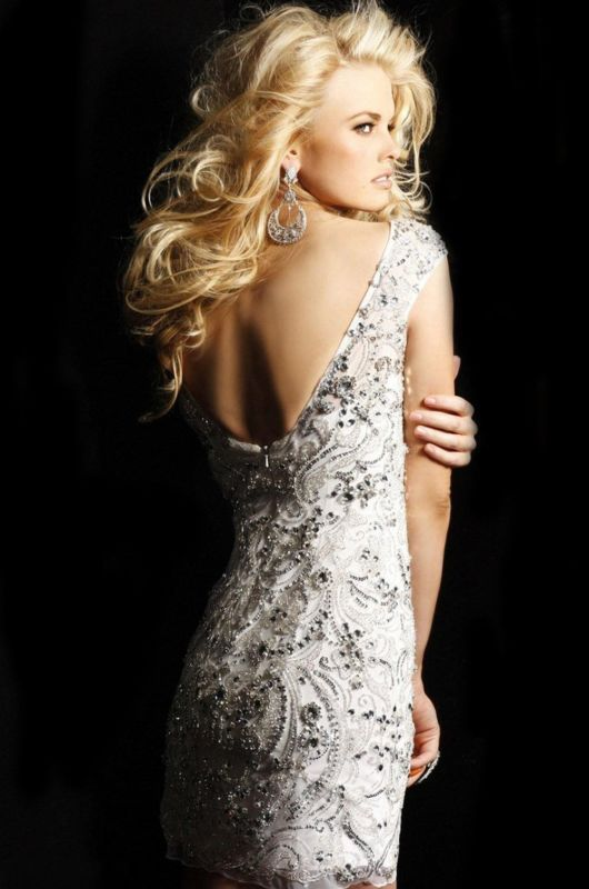 2014 Beaded Deep V Back Evening Cocktail Prom Gown Pageant Party Short Dress