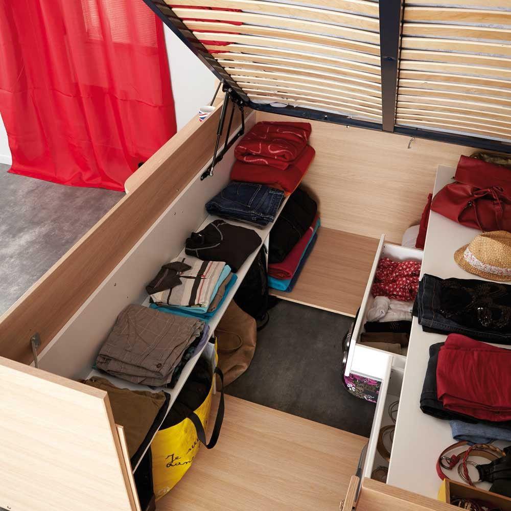 studenten bett hedda in eiche wei mit stauraum 140x200 cm terrasse. Black Bedroom Furniture Sets. Home Design Ideas