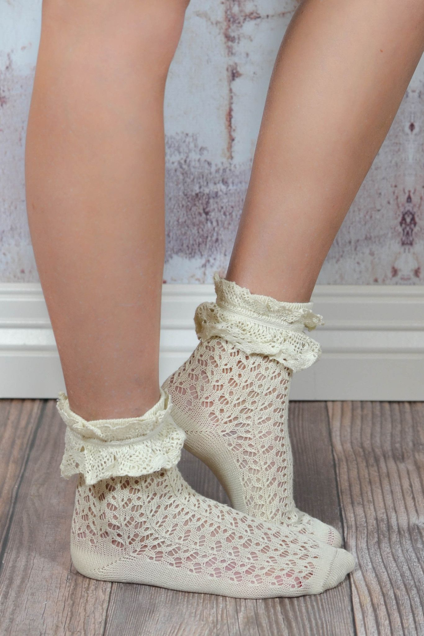 d5fd98ce3cf2a Ivory Ruffle Lace Anklet Sock in 2019
