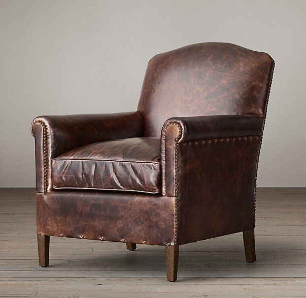 1920s French Camelback Leather Club Chair Leather Club Chairs