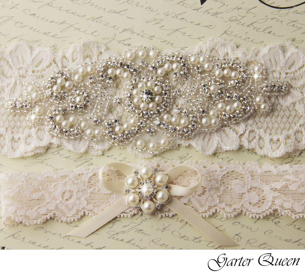 Wedding Garter Set Cream Ivory Stretch Lace Bridal Heirloom Rhinestone And Crystal