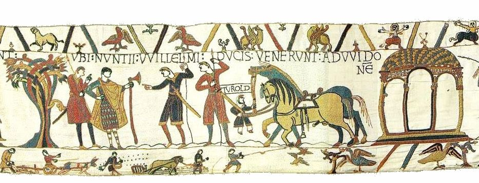 http://upload.wikimedia.org/wikipedia/commons/e/e3/BayeuxTapestryScene10a.jpg. It is likely that Bayeux Tapestry was commissioned by Bishop Odo, William's half-brother, and made in England—not Bayeux—in the 1070s.