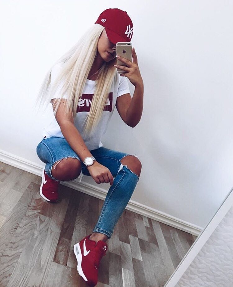 red nike shoes outfit pinterest everything diy 934284