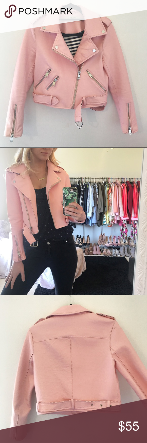 Zara Pink Moto Faux Leather Jacket (With images) Faux