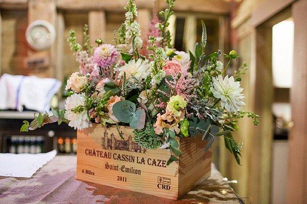 Fun Filled Peachy Country Barn DIY Wedding Crate Flowers http://binkynixon.com/