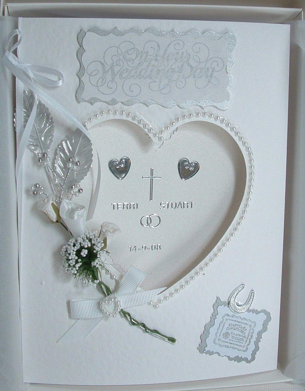 handmade classic white heart wedding day card