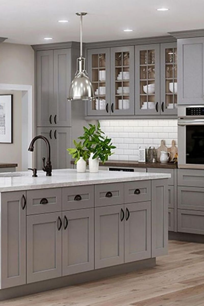 25 Grey Kitchen Ideas Modern Accent Grey Kitchen Design In 2020 Shaker Style Kitchen Cabinets Kitchen Cabinet Styles New Kitchen Cabinets