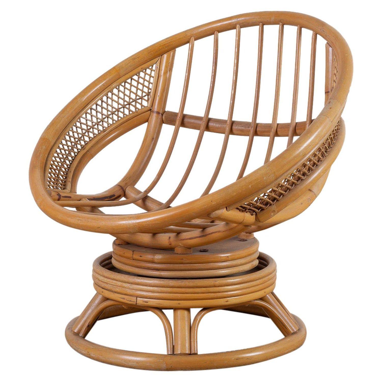 Midcentury Bamboo Rattan Wicker Round Swivel Lounge Chair In 2020 Boho Lounge Chair Rattan Bamboo Chair