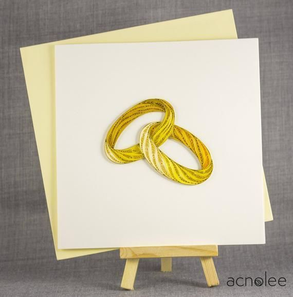 Photo of 3D Blank Quilled Wedding Card Ring Congratulations Engagement Qui