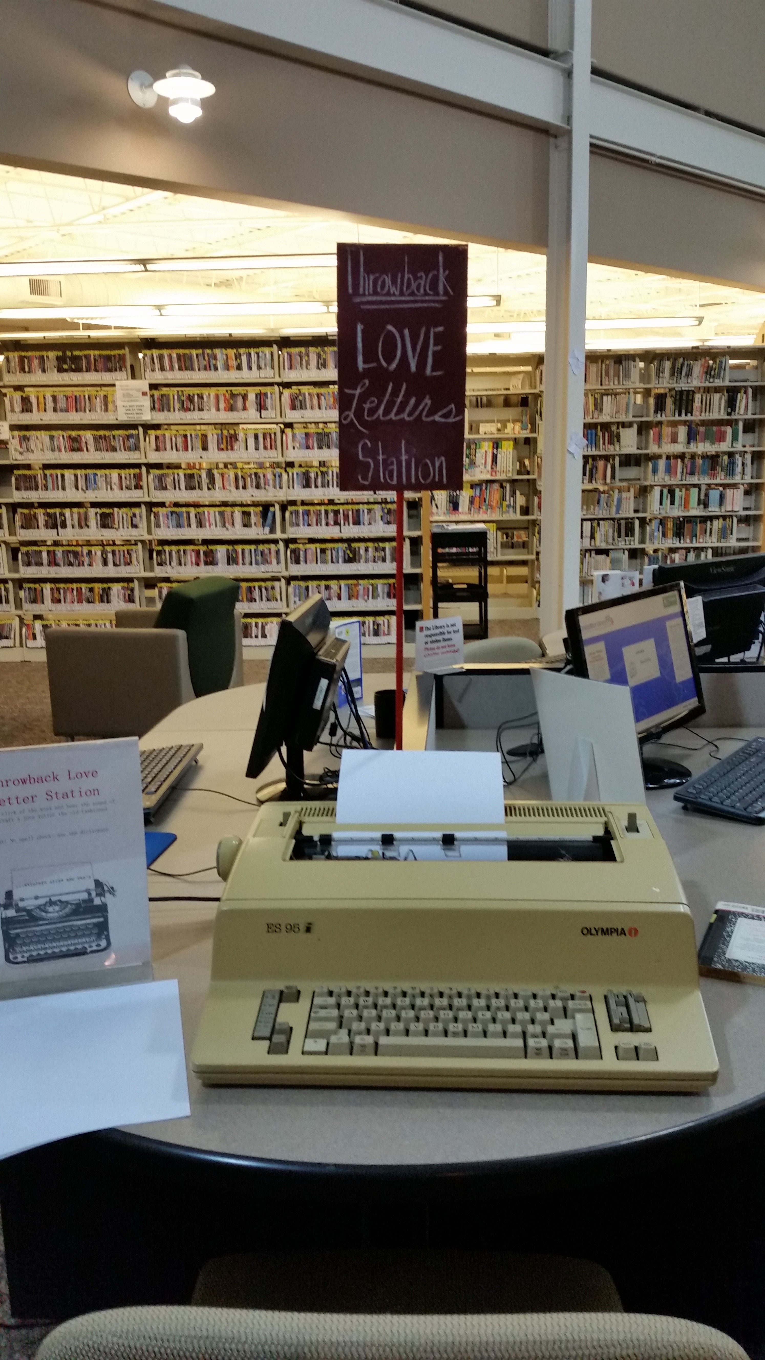 Throwback Love Letter Station Digging Out An Old Typewriter One Can Type No Spell Check A Passive Programming Library Library Book Displays Library Events