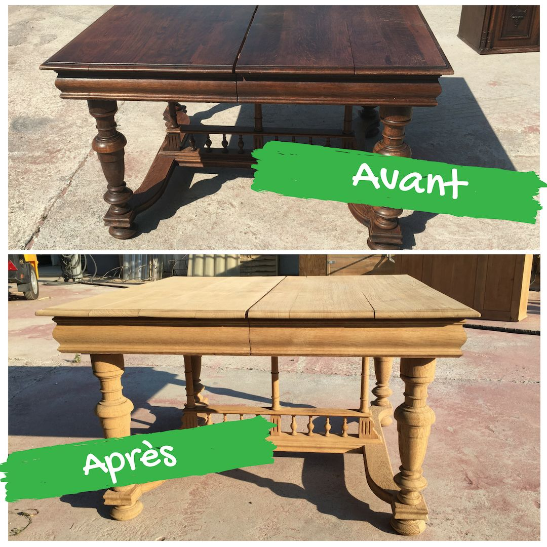 Avant Apres Table Decape Par Aerogommage Aerogommage Bois Aerogommage Table Rustique
