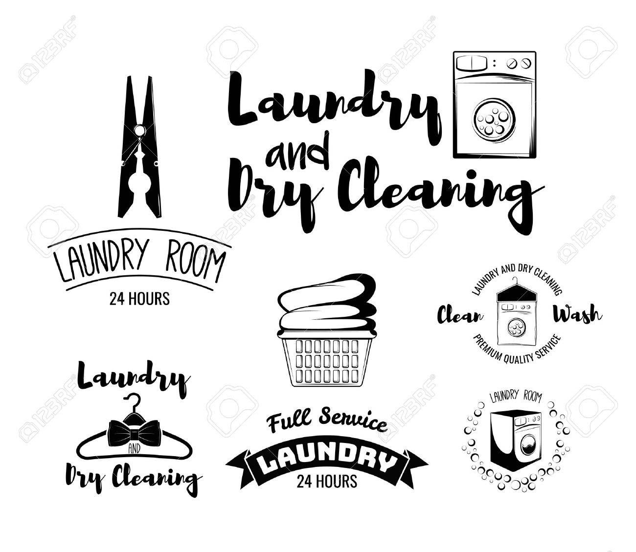 Laundry room and dry cleaning service, ironing service set